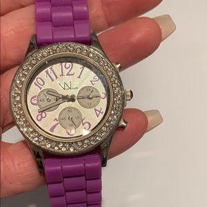 Purple Rubber Bling Watch